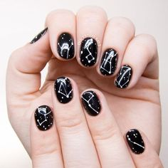 10 Black-based Nail Art Looks to Get You Ready for Fall: #5. Chic constellations