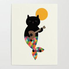 Buy Purrmaid Poster by andywestface. Worldwide shipping available at Society6.com. Just one of millions of high quality products available. Diwali Drawing, Canvas Art, Canvas Prints, Kunst Poster, Mermaids And Mermen, Drawing For Kids, Cute Illustration, Cat Art, Cute Drawings