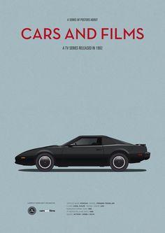 Poster of Knight Rider car. Illustration Jesús Prudencio. Cars And Films