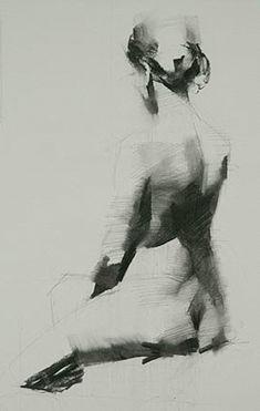 Mark Tennant, seated nude female figure charcoal drawing. marktennantart.com