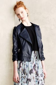 Midnight Leather Moto Jacket - anthropologie.com, An all around great staple leather jacket. What makes it extra on trend is that is it is navy instead of black.