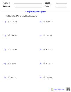 Completing the Square Quadratic Worksheets