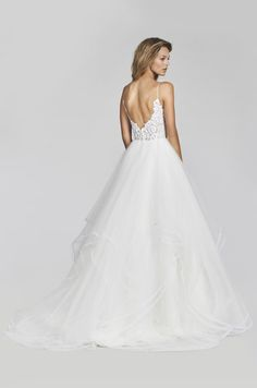 Style 1700 Pepper - Ivory Marrakesh beaded bridal ball gown, scalloped sweetheart neckline and spaghetti strap detail, cascading tulle skirt with thin horsehair trim.