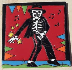 "Talavera Mexican tile Day of the Dead hi relief 6"" Michael Jackson THRILLER SONG"