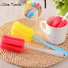 3PC Kitchen Cleaning Tool Sponge Brush For Wineglass Bottle Coffe Tea Glass Cup Household Cleaning Tools & Accessories Scrubbing