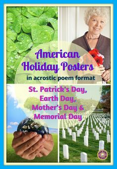 These 4 posters teach students about the origins & customs of St. Patrick's Day, Earth Day, Mother's Day & Memorial Day. Written as acrostic poems, these easy-to-assemble posters also make great models when teaching a poetry unit. Writing & grammar activities plus 5 suggestions for orally discussing the holidays are included, too. Appropriate for all students, including ELLs at lower levels of language proficiency.