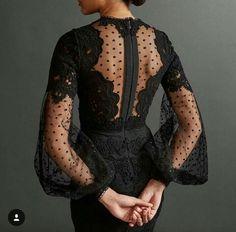 Black fluted sleeve with polka dot dress and lace detail – dresses Trendy Dresses, Elegant Dresses, Beautiful Dresses, Nice Dresses, Fashion Dresses, Dresses With Sleeves, Gorgeous Dress, Lace Sleeves, Dot Dress