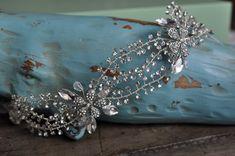 Bridal Vine Hair Accessory With Rhinestones Crystals  #crystal #hair #bridal #vine #head #wedding #handmade #pin #piece #Accessories