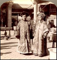 A high class Manchu bride and groom in  in old China, date unknown.