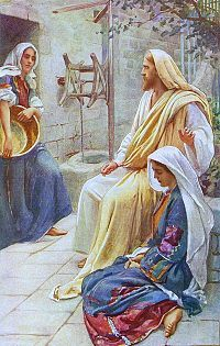 Jesus at the house of Mary and Martha. (Harold Copping Artist.)