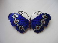 Silver Enamel Butterfly Brooch- J.A&S-full English Hallmarks