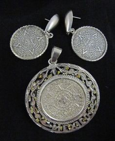 """Sterling (925) Signed Mayan Calendar Medallion Pendant (2"""") with Matching Pierced Earrings (1"""")"""
