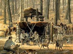 Generations of tough living conditions made the Scots-Irish of hardy stock and able to survive in the backwoods of early America.  (David Wright Art - The Station Camp - Dogs & Deerskins)