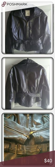 AVANTI BLACK MOTO LEATHER WOMENS JACKET/COAT A spectacular black Avanti womens leather jacket /coat with zipper front and on the sleeves with belt.  No wear on the leather, great condition! Jackets & Coats