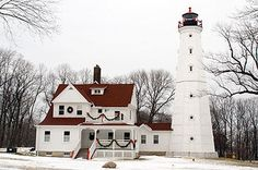 Decorated for the holidays, Milwaukee North Point Lighthouse has been a fixture in the Lake Park neighborhood on Milwaukee's East side since 1855.