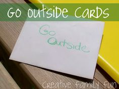 Go Outside activities cards surprise in envelope Outside Activities, Summer Activities, Outdoor Activities, Projects For Kids, Crafts For Kids, Outdoor Learning, Sidewalk Chalk, Go Outside, Summer Fun
