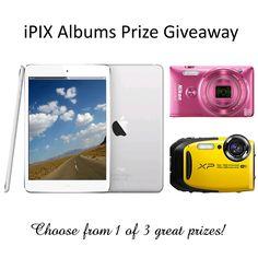 32 HOURS LEFT! #iPIXalbumsGiveaway win 1 of 3 great prize.iPad Mini, Nikon Coolpix Camera, or Fuji Waterproof Camera. http://gvwy.io/uo2mg0t