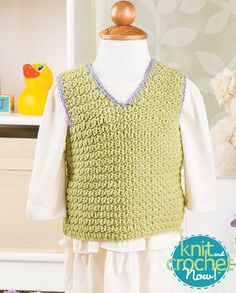 Free Crochet Baby Vest Crochet Pattern Download -- Designed by KCN Design Team. Featured in Season 5, episode 509, of Knit and Crochet Now! TV. Download here: https://www.anniescatalog.com/knitandcrochetnow/patterns/detail.html?pattern_id=33