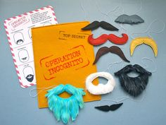 Felt mustaches on elastics...idea from mmmcrafts on Etsy.