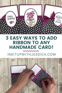 Card Making Ideas For Beginners, Card Making Tutorials, Card Making Inspiration, Ribbon Cards, Paper Cards, Handmade Greeting Card Designs, Simple Handmade Cards, Handmade Greetings, Unique Cards