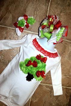 Shabby Rose Flower Christmas Tree Onesie by SewSewCollectibles, $29.99