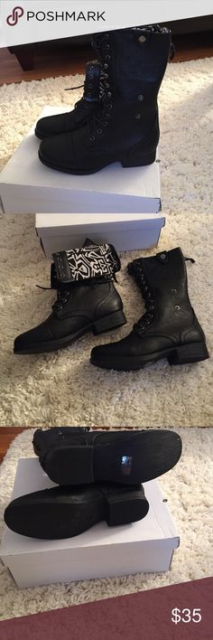 Brand new Wear these stylish boots to the snow with no worries! These gives a cute casual look! Features include, a round toe, faux leather texture, stitched trim, front lace up, clasp versatile style for more detail with cloth ethnic print, and a cushioned foot bed. Shoes Ankle Boots & Booties