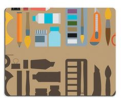 Mousepads Colored flat design vector illustration icons set of art supplies art instruments IMAGE 36949952 by MSD Mat Customized Desktop Laptop Gaming Mouse Pad -- Check out this great product.