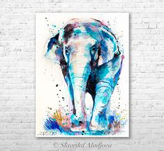 Asian Elephant watercolor painting print by Slaveika Aladjova, art, animal, illustration, home decor, Nursery, Wildlife, wall art, gift • Printed especially for you! • Directly form the artist. • Signet from the artist. • This is a print of my original painting. • Frame is not included. •