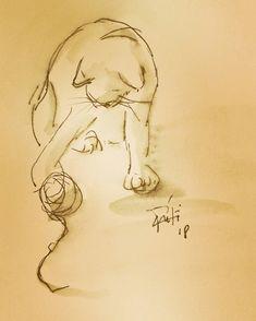 Un jeu Let's play  #chat #koshka #gato #katzen #jeu #play #pets #animaux #ink#encre #croquis #sketches