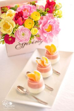 Pretty presentation for Mother's Day.love these little dessert or yogurt cups for a brunch.such a good idea and so pretty with the oranges on top! Just Desserts, Delicious Desserts, Elegant Desserts, Cupcakes, Cake Cookies, Yogurt Cups, Wedding Catering, Catering Menu, Wedding Desserts