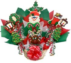 Arrange your homemade Christmas cookies into Cookie Bouquets that make wonderful Christmas centerpieces or gifts. Christmas Cookies Packaging, Christmas Sugar Cookies, Valentine Cookies, Christmas Sweets, Birthday Cookies, Christmas Fun, Easter Cookies, Xmas, Summer Cookies