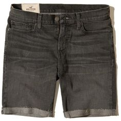 Hollister Classic Fit Denim Shorts (1 050 UAH) ❤ liked on Polyvore featuring men's fashion, men's clothing, men's shorts, dark grey, mens denim shorts, faded glory men's shorts and mens jean shorts