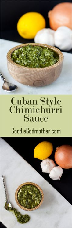 Cuban Style Chimichurri Sauce - a garlicky, fresh-flavored condiment perfect to have on hand for a variety of dishes. Ready in minutes with the recipe on Sauce Recipes, Cooking Recipes, Healthy Recipes, Vegetarian Recipes, Cuban Dishes, Cuban Cuisine, Barbacoa, Comida Latina, Caribbean Recipes