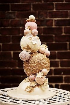 Spherical Chocolate Gold Leaf Wedding cake