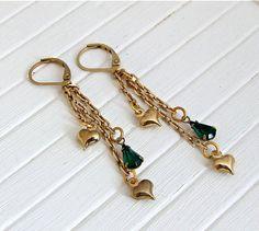 Heart Earrings .. heart dangle earrings chain by beadishdelight