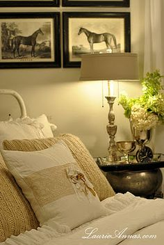 Love the soft colors and the black and white pictures to accent.