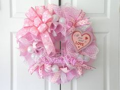 Check out this item in my Etsy shop https://www.etsy.com/listing/217167837/deco-mesh-valentines-day-wreath-in-pinks