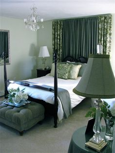 for the window behind the bed: solid curtain flanked by printed curtains