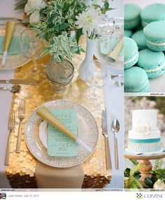 Turquoise Wedding. Gold glitter table runner