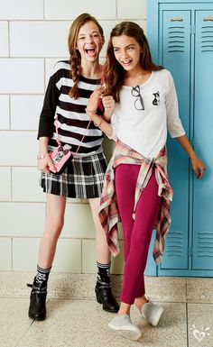 Love the plaid and stripes for back to school. Adorable tween fashion, would be a cute outfit on a girl or 10 year old too. Must have for spring or summer and add some leggings for winter and fall! Preteen Fashion, Kids Fashion, Fashion Outfits, Dress Outfits, Spring Fashion, Fashion Design, Cute Girl Outfits, Outfits For Teens, Summer Outfits