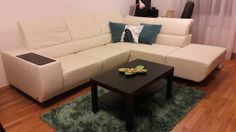 living room: sofa + 2 cushions Sedacky phase Modena, table Ikea Lack,   rug Esprit