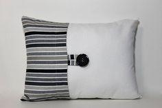 Decorative accent button pillow cover. Black, charcoal grey, tan, cream stripe lumbar pillow cover. Neutral home decor accent, throw pillow