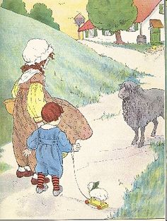 Did you know gutenberg.org has lots of classic old public domain picture books? Free! It can be an eye-opener seeing what parents used to consider proper reading. Also nice for webmasters, because the pictures--like this one--are public domain too.    Yo! Yo! Black sheep,   Show me the wool!