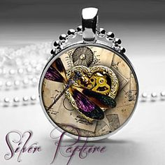 Steampunk Purple Dragonfly with Geared Heart Glass Photo Pendant and Silver Necklace by ChicBridalBoutique on Opensky