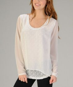 This Off-White Mesh Layered Scoop Neck Top is perfect! #zulilyfinds