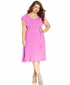 Modamix Plus Size Flutter-Sleeve Ruffle Belted Dress  Macy's.com
