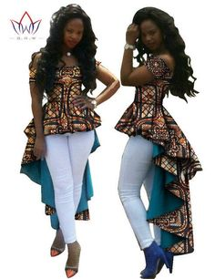 ffd0803e33a BRW Bazin Riche Tuxedo Dress Fashion African Wax Cotton Print Dresses for  Women Dashiki Plus Size African Women Clothes WY615