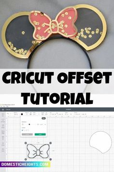 Cricut how to for beginners, knockout, shadow layer Mouse Ears Headband, Ear Headbands, Handmade Crafts, Diy And Crafts, Crafts For Kids, What A Relief, How To Make Stickers, Bow Template, Basic Shapes