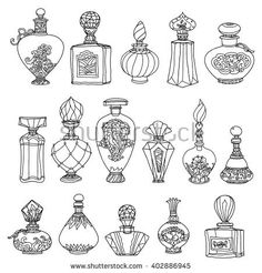 Black and white fantasy vintage perfumes. Pattern for adult coloring book in zenart or zentagle style. Hand-drawn, retro, doodle, vector, zentangle, tribal design colouring book elements. Zentangle.
