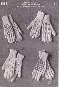 P &B 865 ladies gloves free knitting pattern